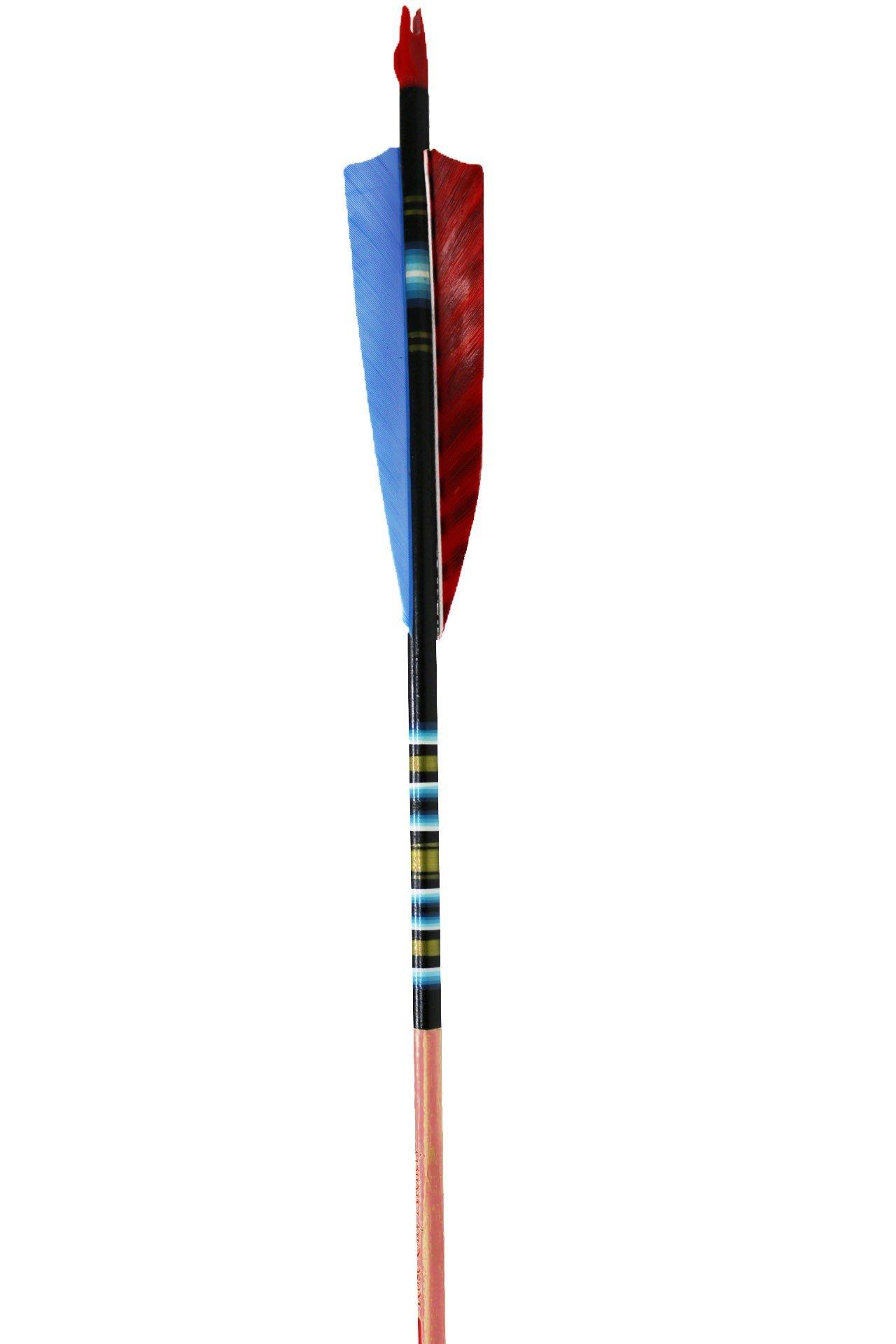 Rose City Archery Port Orford Cedar Fancy Arrows with 4'' Shield Fletch (12 Pack), Black/Mahogany