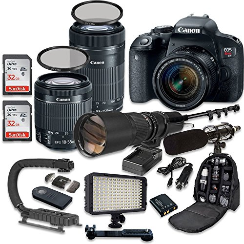 Canon EOS Rebel T7i DSLR Camera Bundle with Canon EF-S 18-55mm f/4-5.6 IS STM Lens + Canon EF-S 55-250mm f/4-5.6 IS STM Lens + 500mm f/8 Preset Lens + Accessory Kit