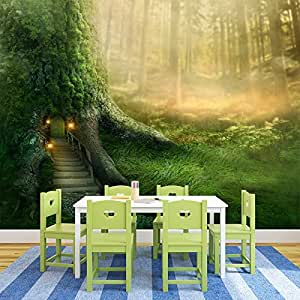 Magical Tree House In Enchanted Forest Fantasy Wall Mural kids Photo Wallpaper available in 8 Sizes Gigantic Digital