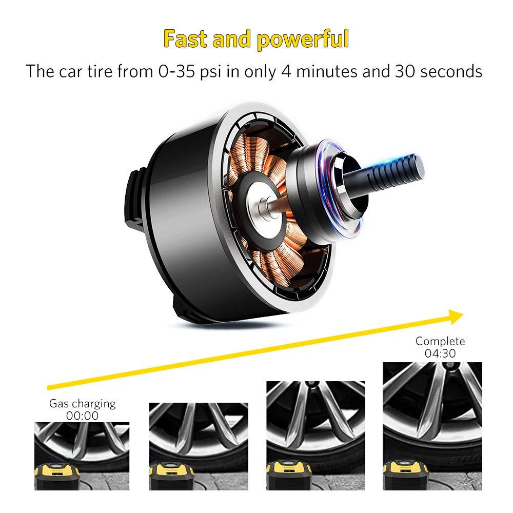 Tsumbay Auto Kompressor DC12V 120W 150Psi Mini Tragbare Auto Luftpumpe Zeiger-Manometer Luftkompressor Reifenpumpe Compressor LED Licht// 3 Ventil-Aufs/ätzen//1 Sicherung//f/ür Auto Fahrrad Motorfahrrad