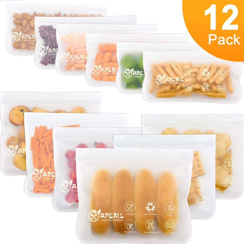 Bolsas de almacenamiento reutilizables, paquete de 12 bolsas de ...