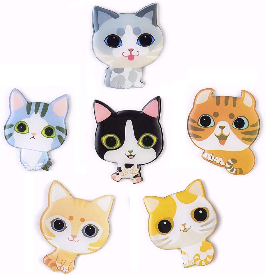 Cute Cartoon Cat Fridge Magnets - 6 PCS Refrigerator Magnets Set Office Magnets Calendar Magnets Whiteboard Magnets Christmas Magnets Decorative Magnets Perfect Gift
