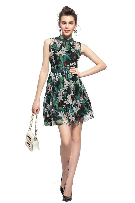 Orifashion Black And Green Printed Sleeveless Silk Short Dress