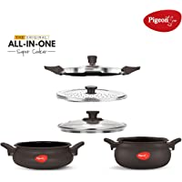 Pigeon by Stovekraft All in One Value Pack Hard Anodized Cooker Set, 5-Pieces, Black