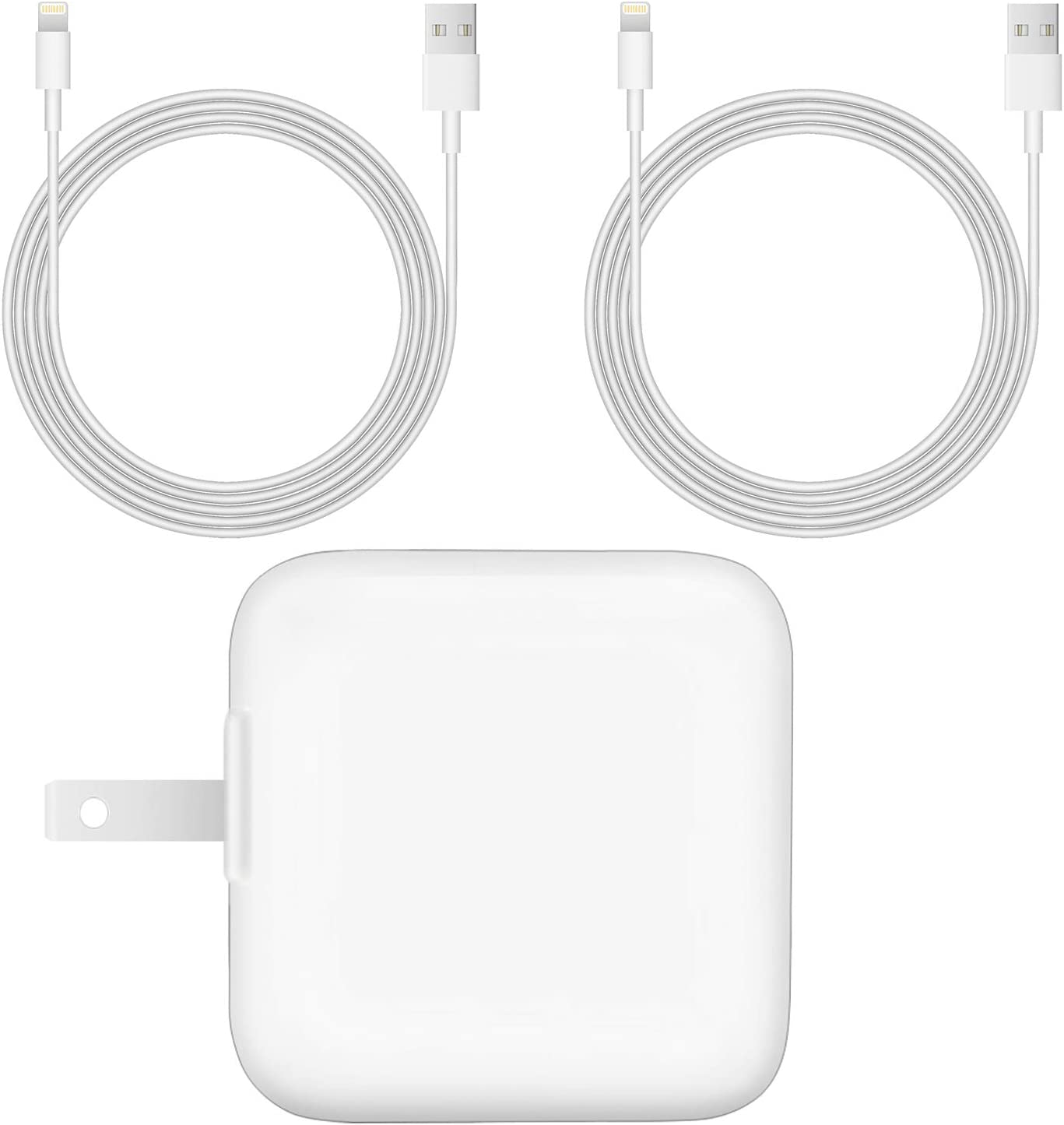 [MFi Certified] 12W USB Wall Charger for iPad iPhone, 2.4A 12W iPad Charger with 2-Pack 6 Ft Lightning Charging Cable and Foldable Portable Travel Plug Compatible with iPad, iPhone