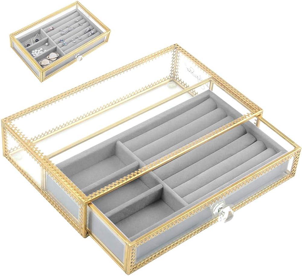 Jolicobo Caja Joyero Anillo de Boda Caja de Joyas Terciopelo Ring Box para Anillos, Collares, Pendientes con Caja de Cristal