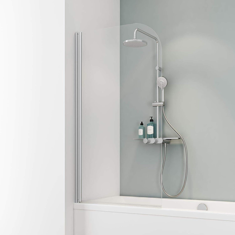 Schulte Mampara de bañera para pegar Cristal 1 piezas 140 x 80 cm ...