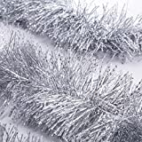 SANNO Silver Christmas Garland Thick Tinsel Decor 3pc 66Ft x 4in (Small Image)
