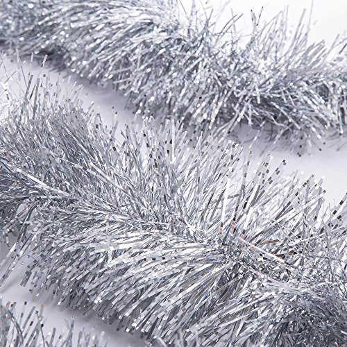 SANNO Christmas Tinsel Garland Snowy Tinsel Sparkly Classic Party Ornaments Hanging Shiny Xmas Christmas Tree Ceiling Decorations, 3 Pcs 6.6 Ft (2M) x 4 inch wide Each, Silver (Tree Tinsel Diy Christmas)