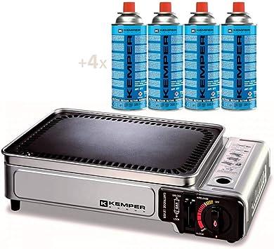 Kemper - Barbacoa de gas portátil de 1,9 kW con parrilla antiadherente + 4 cartuchos de gas para camping