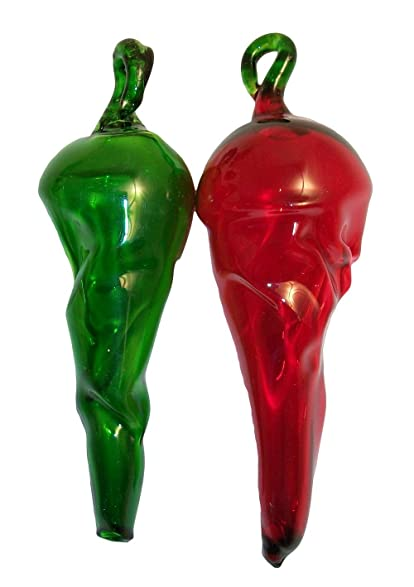 Handblown Red and Green Glass Chili Pepper Christmas Tree Ornaments Set of 2 - Amazon.com: Handblown Red And Green Glass Chili Pepper Christmas