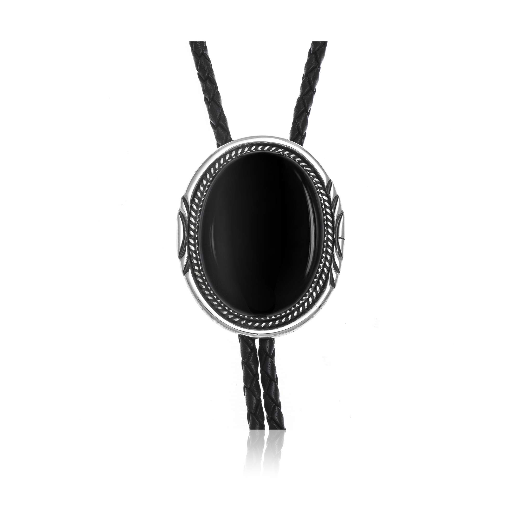 $380Tag Silver Certified Navajo Native American Onyx Leather Bolo Tie 1191-2 Made by Loma Siiva