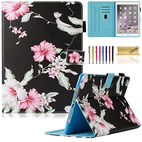 Dteck iPad 9.7 inch 2018 2017 Case / iPad Air Case / iPad Air 2 Case - Multi-Angle Viewing Auto Wake / Sleep Folio Smart Cover Stand Wallet Case for iPad 9.7 inch 2017/2018,iPad Air 1 2,Pink Floral