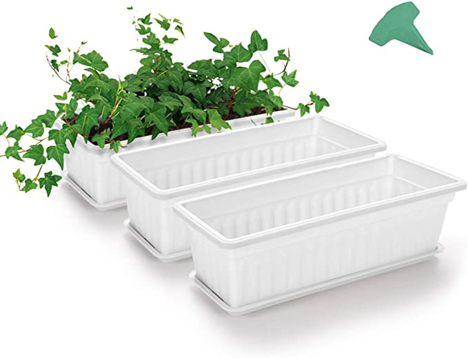 Growneer 3 Packs 17 Inches White Flower Window Box Plastic Vegetable Planters With 15 Pcs Plant Labels For Windowsill Patio Garden Home Décor Porch Garden Outdoor Amazon Com