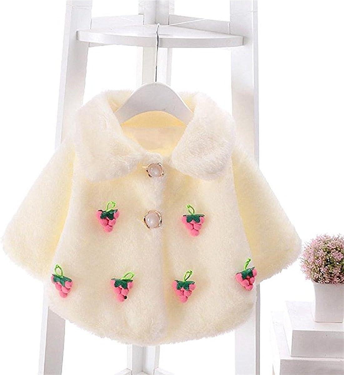 REWANGOING Little Girls Adorable Princess Grape Thick Fur Warm Jacket Outwear Coat Cloak