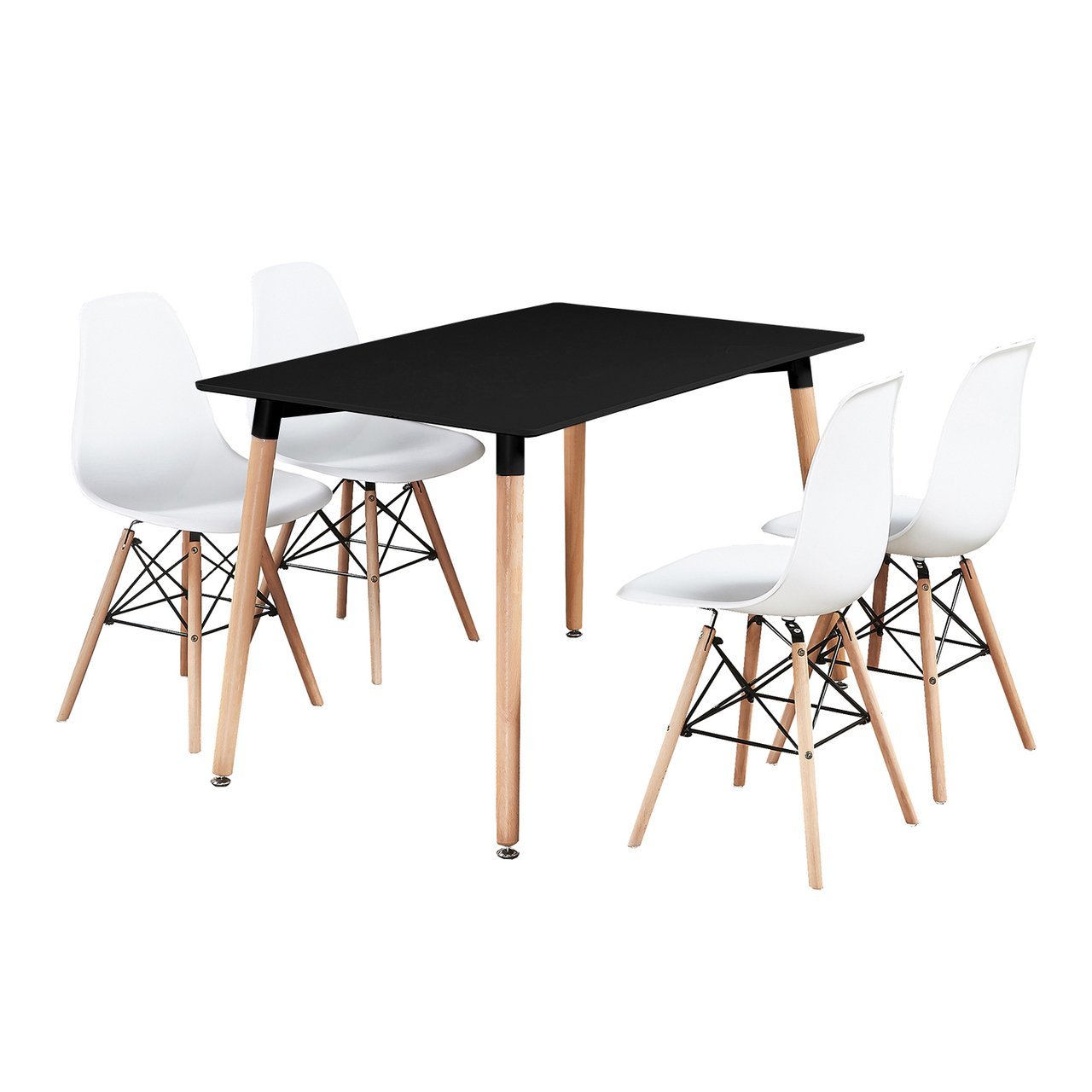 P&N Homewares Moda Eiffel Dining Set (White Chairs, Black Table) | 4 Chairs Dining Room