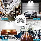 LED Garage Lights Deformable 120W, Upgrade 4 Panels Adjustable E26 LED Garage Ceiling Light with Holder, 50000 Hours Life, 6000-6500K, 360° Area LED Lighting for Shop, Barn, Warehouse & Commercial