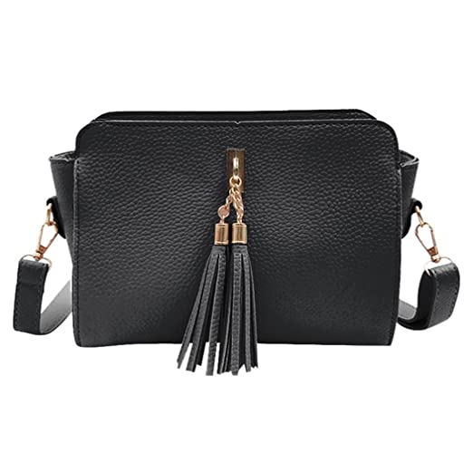 Image Unavailable. Image not available for. Color  Solid Color Tassel  Leather Crossbody Bag Fashion Women ... 2175d2751
