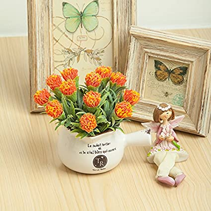 Clg Fly Potted Artificial Flower Decoration Of Decorating Ideas Of Living Room Coffee Table Orange Amazon Co Uk Kitchen Home