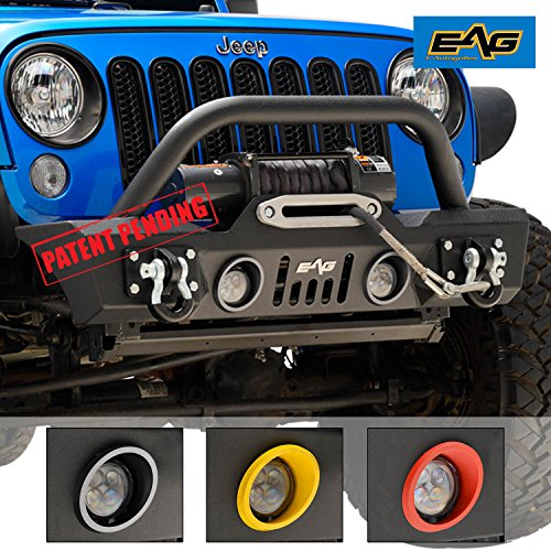 EAG 07-18 Jeep Wrangler JK Stubby Front Bumper Rock Crawler With LED Lights and Colored Light Frames