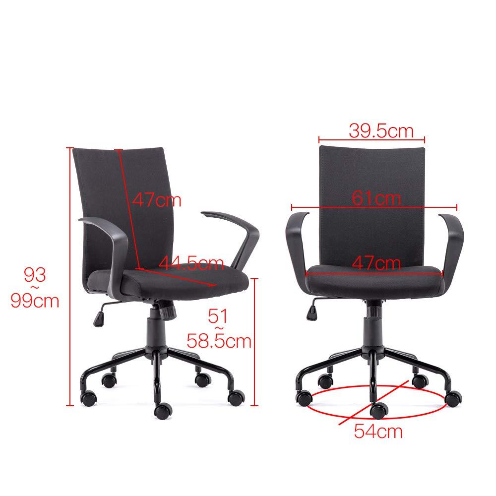 Scrivania sedia comfort Fabric Task sedia con braccioli girevole e regolabile in altezza adatto per computer di lavoro e incontro e ricezione place Antique Grey