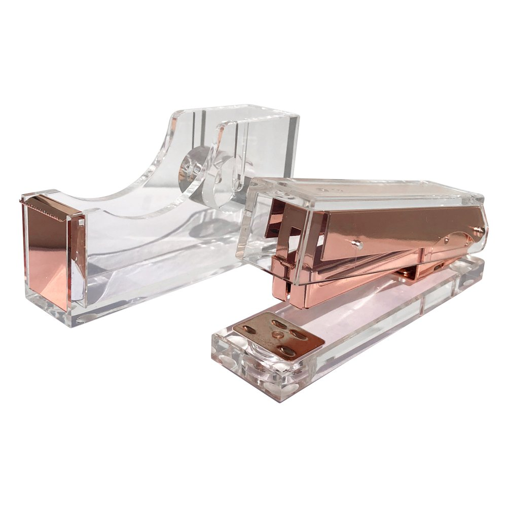 Acrylic Rose Gold Stapler and Tape Dispenser Office Desk Set Bundle - Elegant Modern High End Luxury Desk Accessories