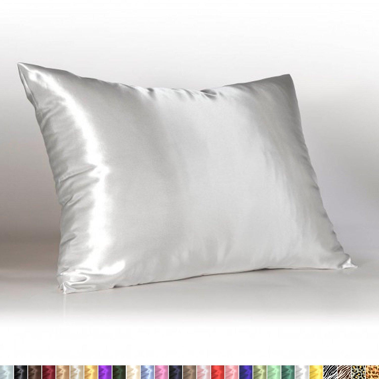 sweet dreams luxury satin pillowcase with zipper standard size white silky satin pillow