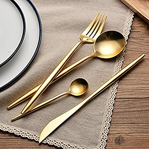 Sino Banyan Luxury Flatware Set,18/10,Gift Package,1Set 4Pcs,Gold - Damascus Medallion