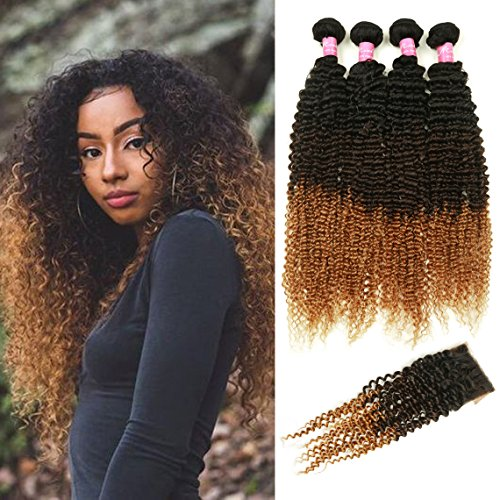 Mink hair ombre kinky curly hair with closure grade 8a brazilian home pmusecretfo Gallery