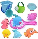 お風呂おもちゃ WELCOOL シャワー プールトイ 水遊びおもちゃ 11点セット 噴水 音だす 漁網 柔らかい おふろおもちゃ 子供 赤ちゃん玩具