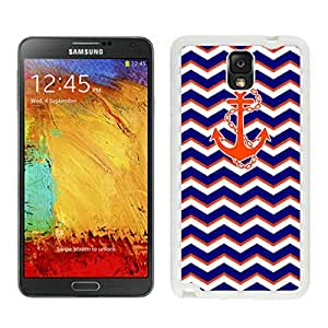 Coolest Samsung Note 3 White TPU Case Chevron Pattern Blue with Anchor Wave Durable Silicone Phone Cover by icecream design