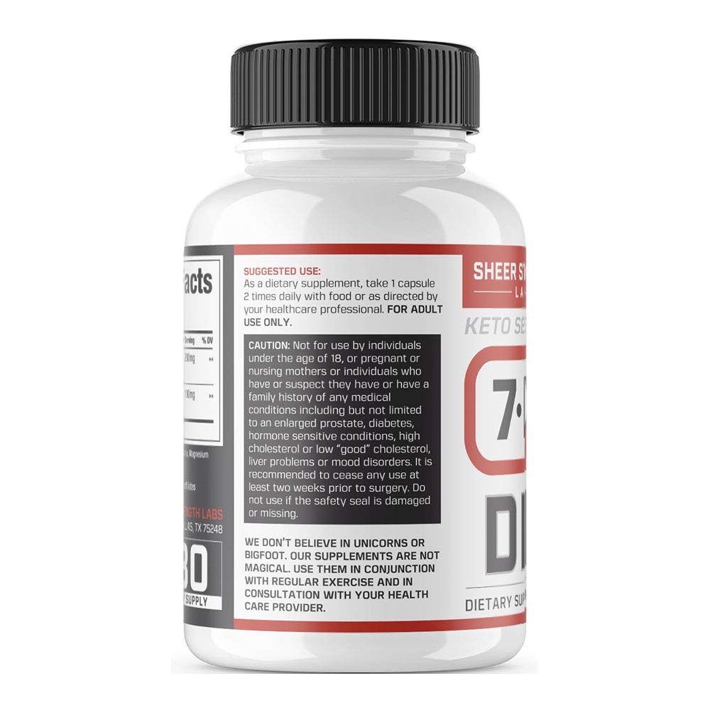 Extra Strength 7 Keto DHEA 200mg Supplement - for Healthy Weight Management, Building Lean Muscle, and Restoring Youthful Energy Levels in Men and Women, Sheer Strength Labs, 60ct by Sheer Strength (Image #3)