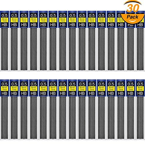 (TecUnite 360 Pieces HB Black Lead Refills Mechanical Pencil Refills, 30 Tubes (0.5 mm))