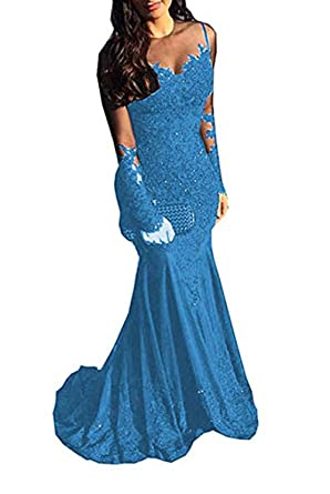 0fcb9a4b0b Ri Yun Sexy Illusions Mermaid Prom Dresses Long Sleeve Lace Appliques  Beaded Formal Evening Ball Gowns