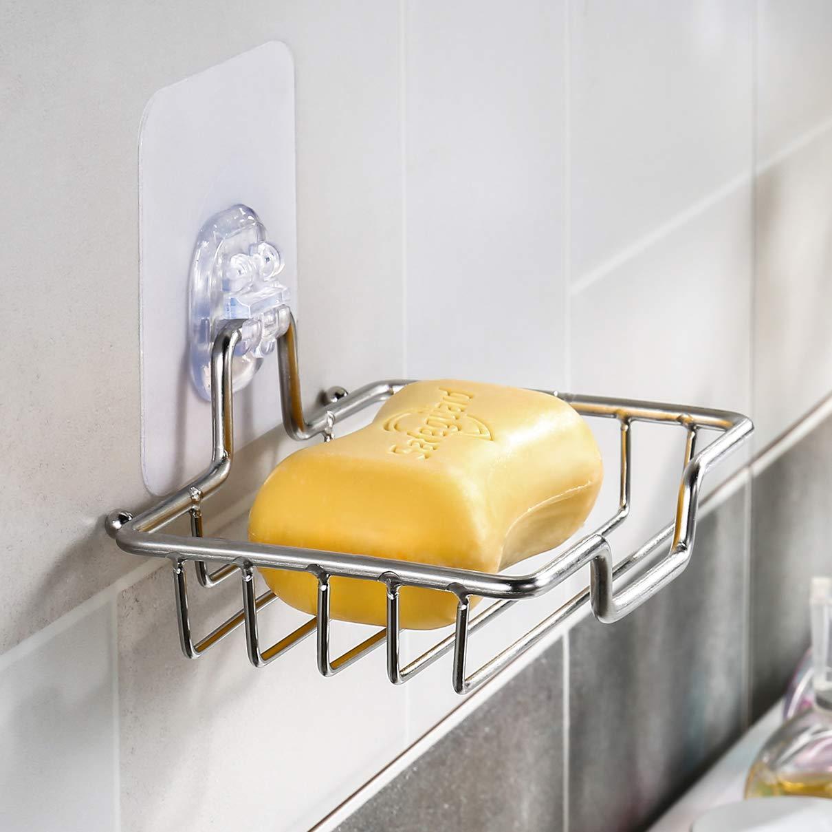 transparent Klebestreifen Pads Wangel Seifenschale Seifenhalter ohne Bohren Edelstahl Poliertes Finish