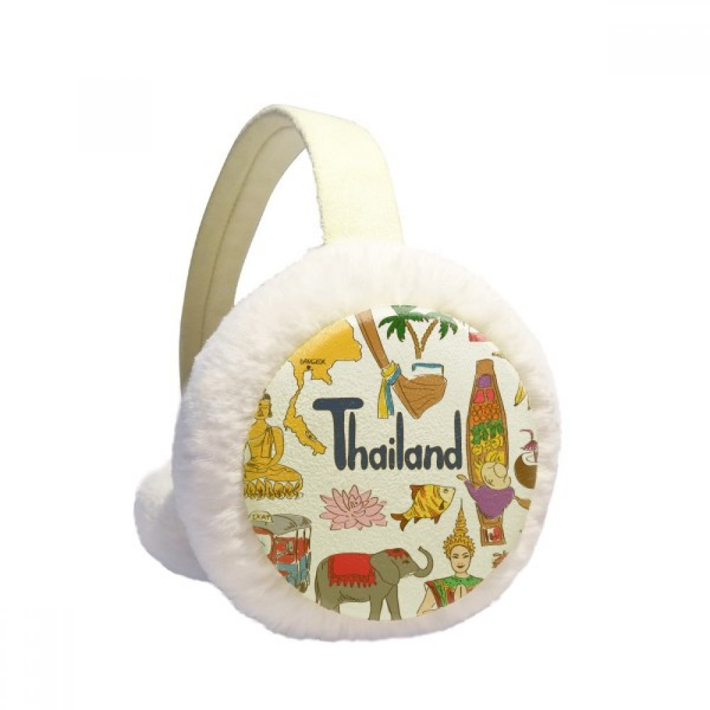 Thailand Landscap Animals National Flag Winter Earmuffs Ear Warmers Faux Fur Foldable Plush Outdoor Gift