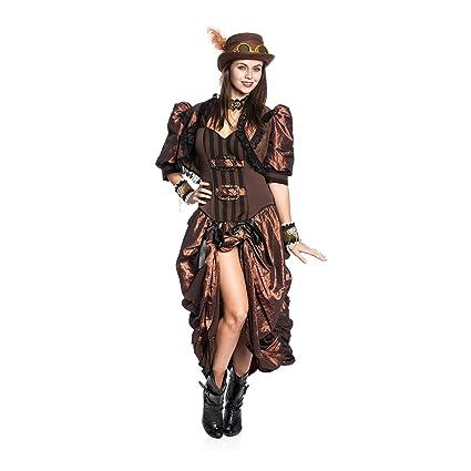 kostumplanet steampunk kostum deluxe damen kleid mit bolero jackchen grosse 36 amazon de spielzeug