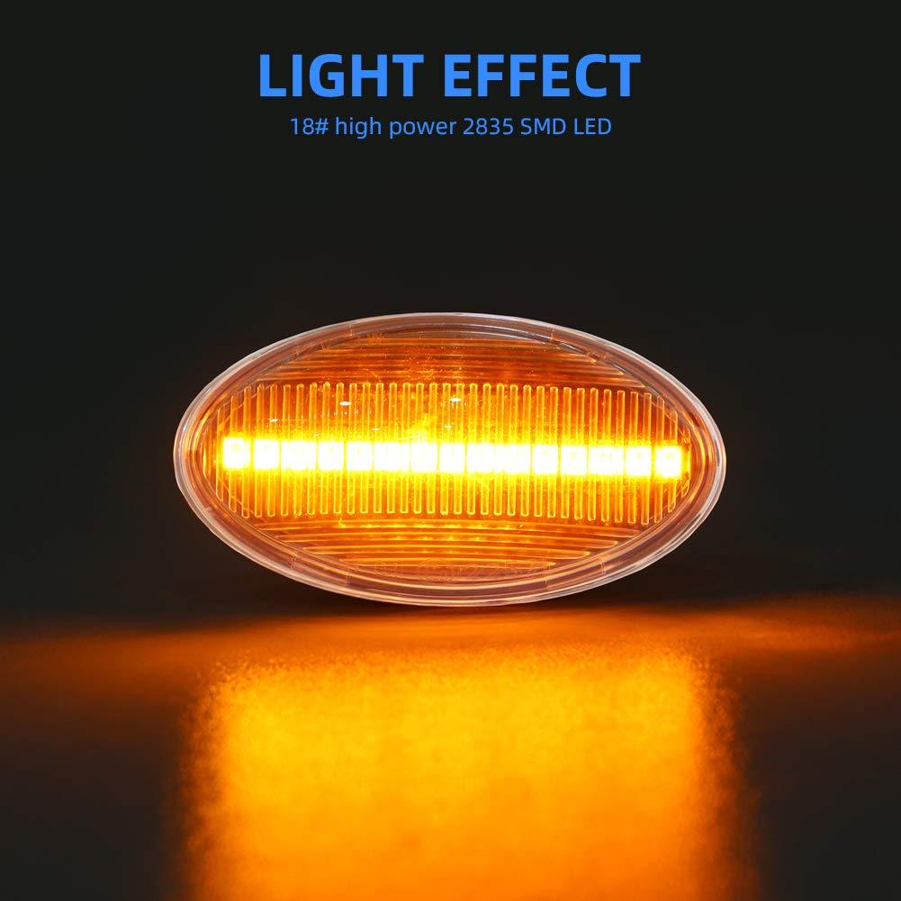 Gempro LED Seitenmarkierungsblinker Transparentes Glas Blinker Bernsteinfarbe 1 Paar f/ür Mini Cooper R50 R52 R53 2001-2006