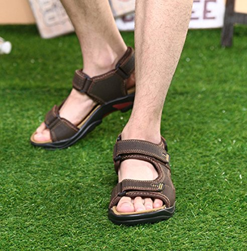 Liveinu Mens Sandals Outdoor Sports Leather Fishermen Sandal Summer Shoes Brown YJMcL