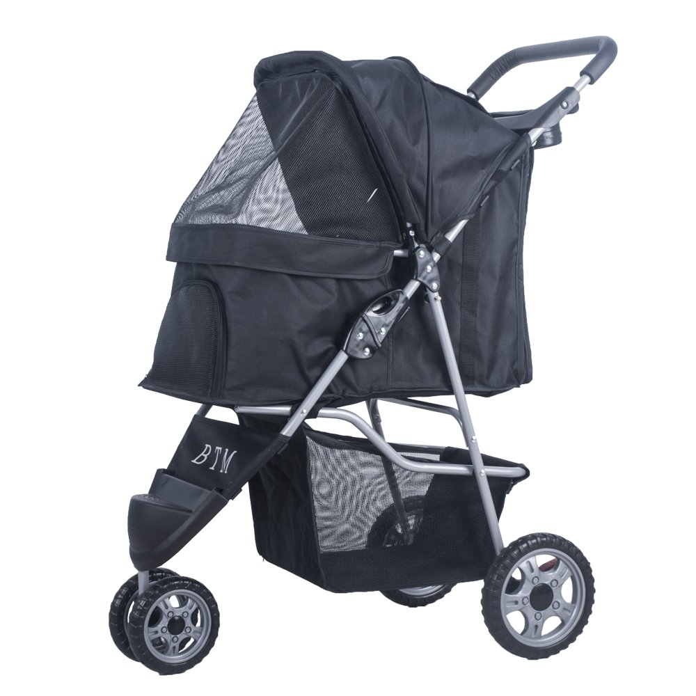 BTM Pet Travel Dog Stroller Dog Puppy Cat Pushchair 3 Swivel Wheels Pram Jogger (Black)