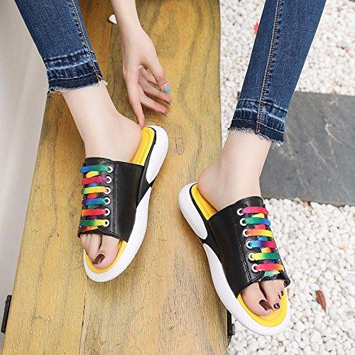 XIAOGEGE Drag & Drop das Wort Frauen Schuhe Sommer neue Dinge nicht zu tragen - Slip cool Hausschuhe, EU37, Weiß