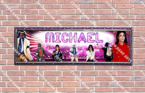 [Personalized Customized Michael Jackson Poster With Frame, With Your Name On It, Party Door Poster, Room Art Decoration, Wall] (Michael Jackson Decorations)