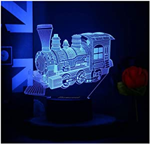 Train Toy Kids Night Light LED Lamp 3D Illusion Boy Car Steam Train 7 Color Christmas Birthday Gifts