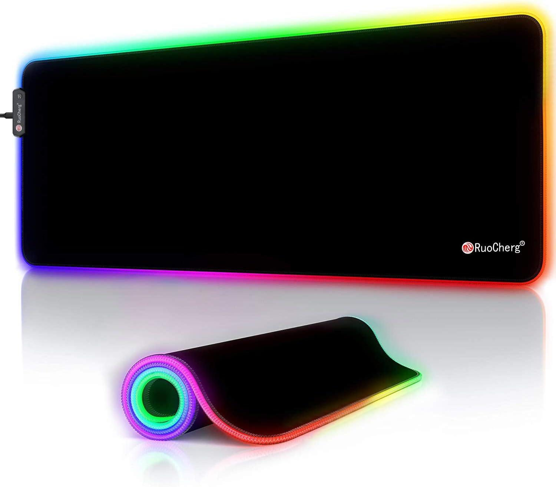 RGB Alfombrilla Gaming, 800 x 300mm 12 Modos de Iluminación Ajustables LED Alfombrilla de Ratón con Impermeable, Base de Goma Antideslizante Mousepad para Gamers, PC y Laptop