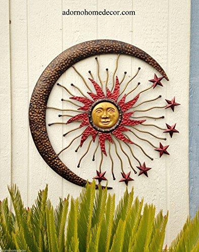 Large Metal Celestial Moon Sun Decor Garden Art Indoor Outdoor