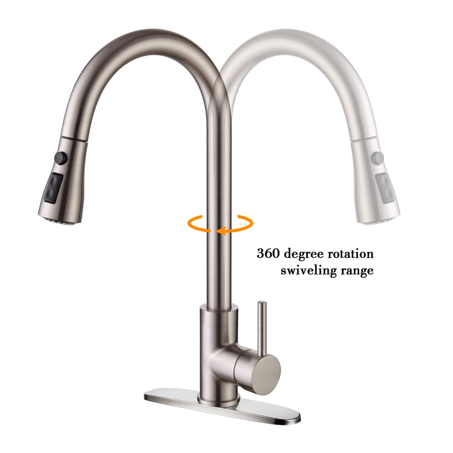 Moone Commercial Single Handle Kitchen Faucet Pull Down Sprayer Brass Body Pull Out Spray Kitchen Sink Faucets Stainless Steel Brushed Nickel by Moone (Image #8)