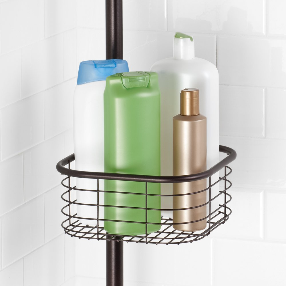InterDesign Forma Constant Tension Shower Caddy – Square Bathroom Storage Shelves for Shampoo, Conditioner and Soap, Bronze by InterDesign (Image #7)