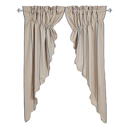 Nancys Nook VHC Brands Charlotte Azure Scalloped Prairie Curtain Set Of 2 63x36x18