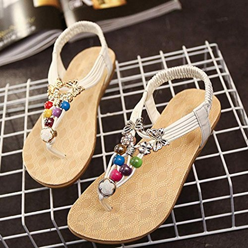 Inkach® Women Summer Bohemia Beaded Thong Sandals Clip Toe Flat Beach Shoes White XQFmmMFX