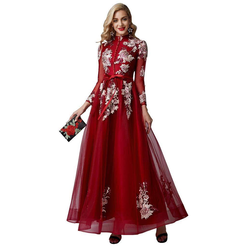 8e03e0a0907 LightInTheBox TS Women s A-Line High Neck Illusion Sleeve Floor Length  Evening Dress with Buttons Embroidery